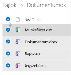 Az összes fájl és mappa kijelölését ábrázoló képernyőkép a OneDrive-ból