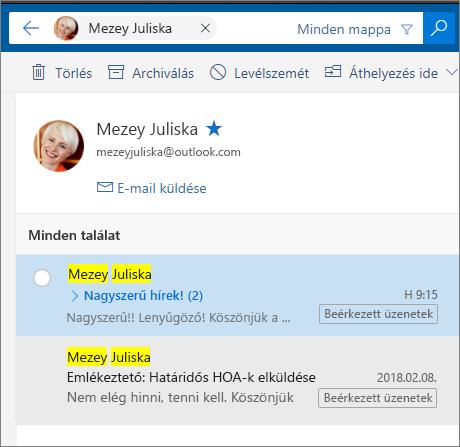 Egy személy összes e-mailjeinek megjelenítése kereséssel