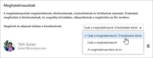 Képernyőkép a Naptár megosztása párbeszédpanelről.