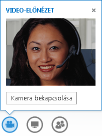 A video-előnézetről készült kép, a kamera bekapcsolására szolgáló beállítás bejelölve