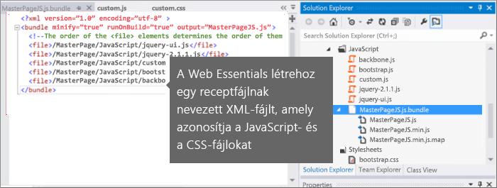 Képernyőkép a JavaScript- és a CSS-receptfájlról