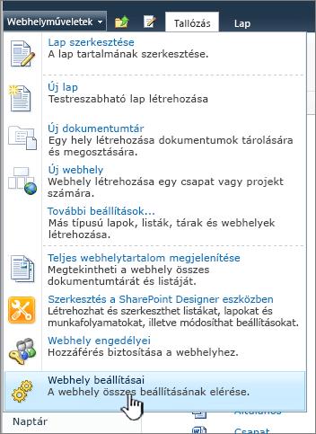 Webhely beállításai a Webhelyműveletek menüben