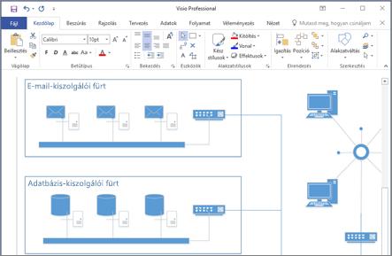 Képernyőkép egy Visio 2016-ban létrehozott diagramról