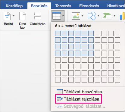 Az egyéni táblázat létrehozásához használható Táblázat rajzolása elem kiemelve