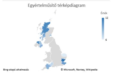 Excel-térképdiagram – Diagram egyértelmű adatokkal