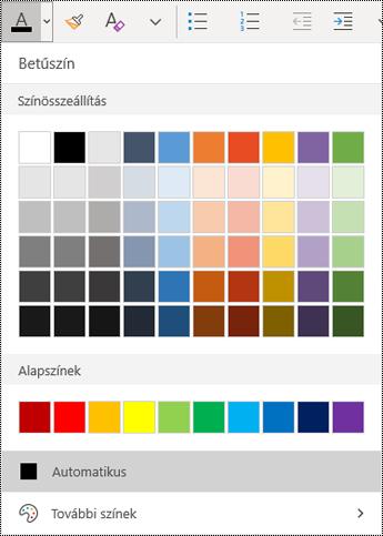 A betűszín menüje a Windows 10 OneNote appban