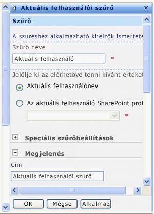 Az Aktuális felhasználói szűrő kijelzőhöz tartozó eszközpanel
