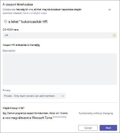 Képernyőkép: A csoportelnevezési házirend által tiltott név példája a Microsoft Teamsben