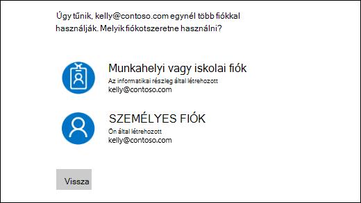 Jelentkezzen be képernyőn, és két e-mail címmel