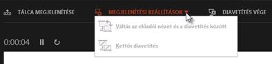 Az Előadói nézet Képernyő-beállítások eleme