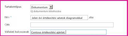 A felhasználók a dokumentum tulajdonságlapján megadhatják a kulcsszavakat.