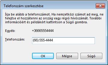 Lync-telefonszám példája nemzetközi formátumban
