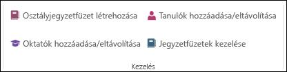 Képernyőkép a OneNote munkafüzetét kezelésére szolgáló beállítások