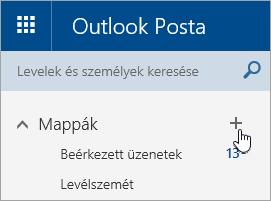 Képernyőkép az Új mappa létrehozása gombról az Outlook.com-ban