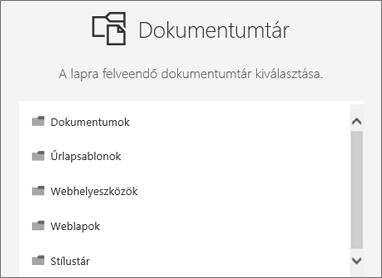 Jelölje ki a dokumentumtárat elhelyezése egy lapon