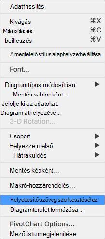 Az Excel 365 helyettesítő szöveg szerkesztése menü a kimutatásdiagramok esetében