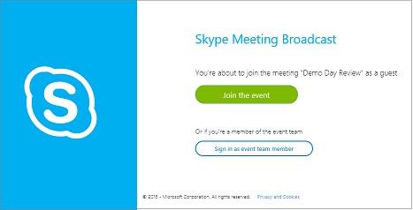 SkypeCast-esemény bejelentkezési lapja névtelen értekezlet esetén
