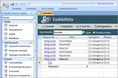 Az Eszközök adatbázis sablonjának használata