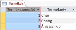 A termékek tábla képernyő kódtöredékének