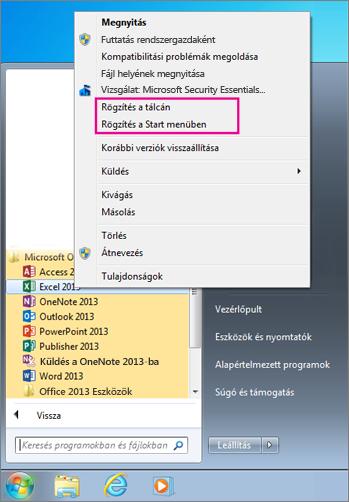 Office-alkalmazások rögzítése a Windows 7 Start menüjébe vagy tálcájára