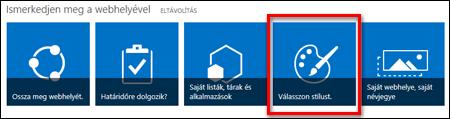 Újonnan létrehozott webhely a SharePoint Online-ban, a webhely további testreszabásait lehetővé tevő csempékkel