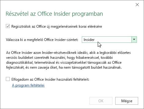 A Részvétel az Office Insider programban párbeszédpanel, az Insider lehetőség van rajta kiválasztva