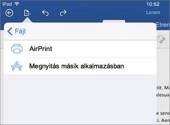 Az iOS Word nyomtatási párbeszédpanele lehetővé teszi a dokumentum nyomtatását vagy megnyitását egy másik appban.