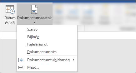 Képernyőkép a dokumentumra vonatkozó információk és a dátum és idő gomb a Word menüszalagján