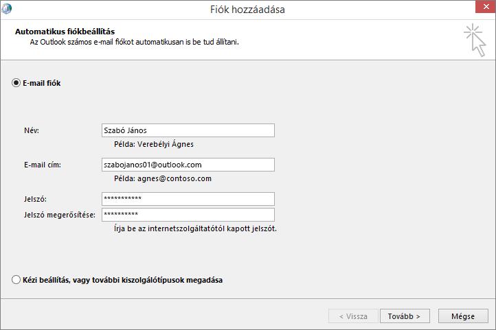 Az Automatikus fiókbeállítás lapon az e-mail fiók felvehető az Outlook újonnan létrehozott profiljának részeként