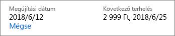 Hivatkozás az Office 365 Otthoni verziós előfizetés lemondására.