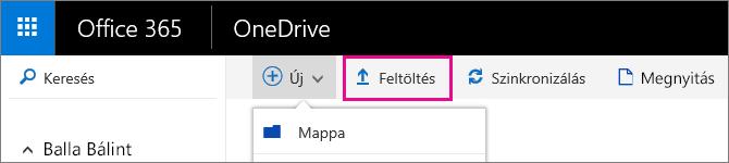 Fájlok feltöltése a OneDrive vállalati verzióba.