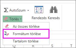 A formátum eltávolítása a Formátum törlése paranccsal