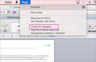 Mac Office-menü képernyőképe