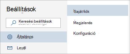 Képernyőkép: a teljes beállítások menü