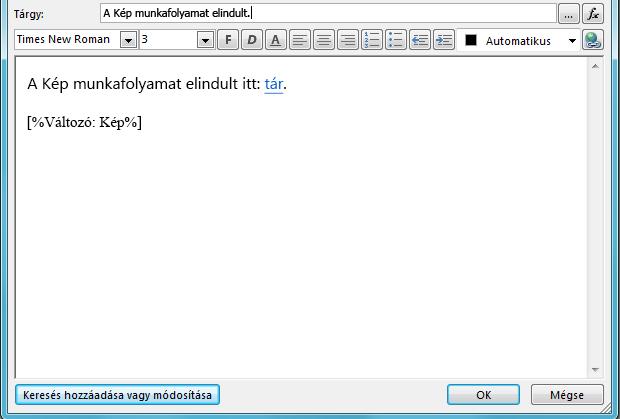 Munkafolyamat e-mail-bal oldalt üzenetlista szövegtörzse képpel
