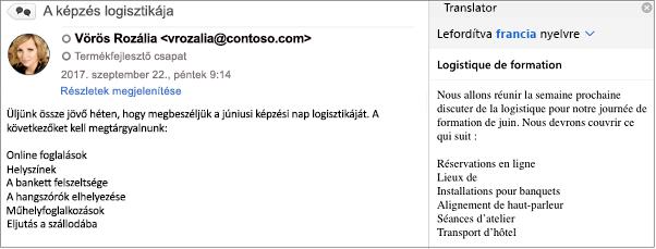 Ez az üzenet az Outlook Translator bővítményével lett lefordítva angolról franciára