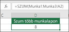 3D Szum – A D2 cellában lévő képlet =SZUM(Munka1:Munka3!A2)