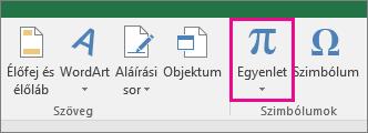 Az Egyenlet gomb az Excel 2016 menüszalagján