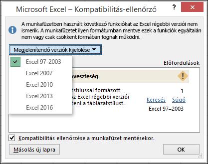 Az Excel kompatibilitás-ellenőrző párbeszédpanel