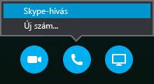 Csatlakozás Skype-híváshoz a Hívás gombbal vagy a Hívjon fel engem az értekezlet lehetőség választása