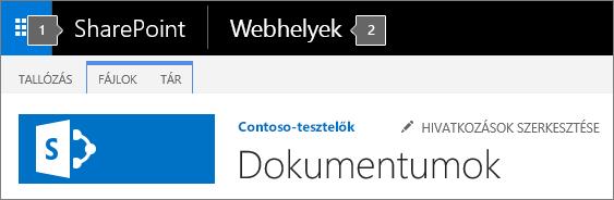 SharePoint 2016, a képernyő bal felső sarkában megjelenő appindítóval és a címmel
