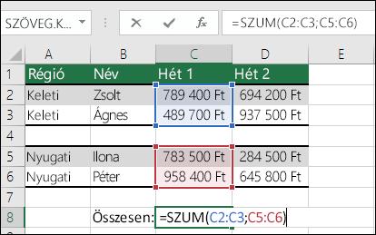 A SZUM használata nem folytonos tartományokkal.  A C8 cellában szereplő képlet a következő: =SUM(C2:C3;C5:C6). Használhat elnevezett tartományokat is, így a képlet ilyen lesz: =SZUM(Hét1;Hét2).