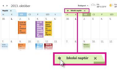 A Megtekintés átfedő megjelenítéssel parancs a naptár lapján