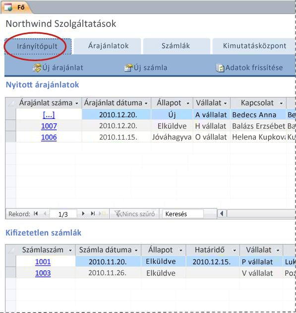 A Szolgáltatások adatbázissablon Irányítópult lapja