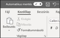 Az Automatikus mentés kapcsolója az Office-ban
