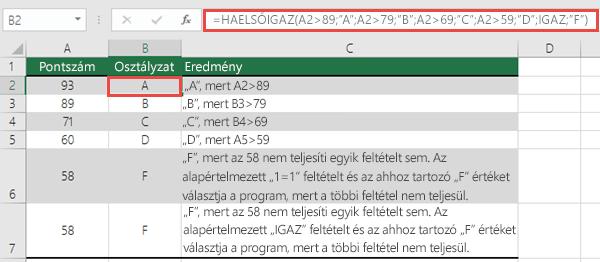 """HAELSŐIGAZ függvény – Példa osztályzatokkal  A B2 cellában lévő képlet a következő: =HAELSŐIGAZ(A2>89;""""A"""";A2>79;""""B"""";A2>69;""""C"""";A2>59;""""D"""";IGAZ;""""F"""")"""