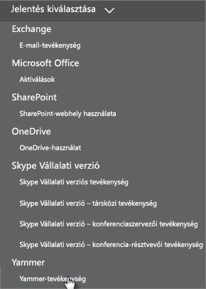Képernyőkép az Office 365 Jelentések irányítópultjának Jelentés kiválasztása menüjéről