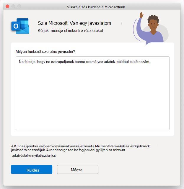 Visszajelzési párbeszédpanel Outlook MacOS rendszerben