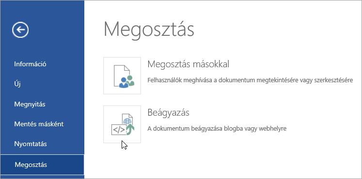 Office-dokumentum beágyazása.