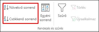Az Excel növekvő vagy csökkenő rendezési sorrend gombjai az Adatok lapon